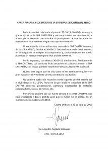 Carta de Dimisión Agustín Anglada Pte. SDR Castro