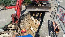 Arreglo rotura tubería Rotonda Eroski