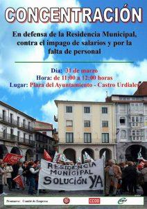 Concentración Residencia Mpal 31-marzo. Cartel