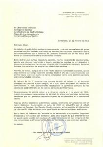 Carta Consejera Sanidad a Cesar Barco (por el encierro)