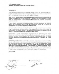 Carta Mas Castro a Jesus Lolin. No dimiten