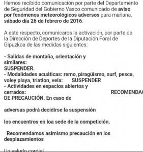 Decreto suspensión Descenso Orio 2016