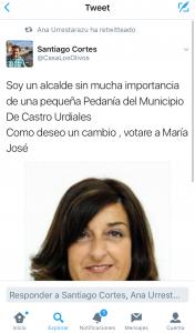Twitter Santi Cortes apoyo a Buruaga