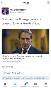 Twitter Urresta apoyo a Buruaga