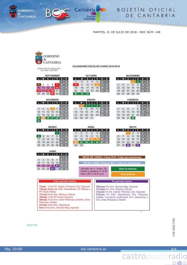 Calendario Escolar 2020 Cantabria.Publicado En El Boletin Oficial De Cantabria El Calendario Escolar